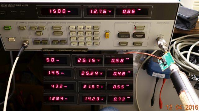 Ruisgetal metingen op diverse frequenties. (1284 MHz is gekozen ipv 1296, omdat daar wat andere RF zat).