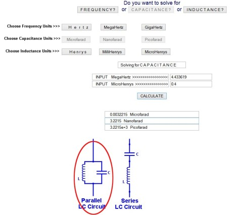 LC calculator example with 0.4µH and 4.433619 MHz: 3.22nF (use 3.3 nF)
