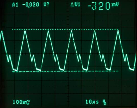De ripple is veel te groot voor analoge schakelingen. Er moet dan een filter in serie met de uitgang worden aangebracht.