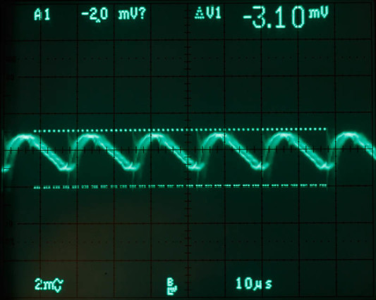 Nu mét filter. De scoop stond hier op slechts 2mV/div!
