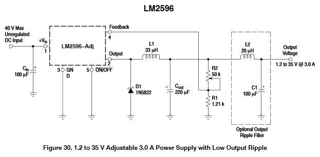 Schema LM2596 step-down converter