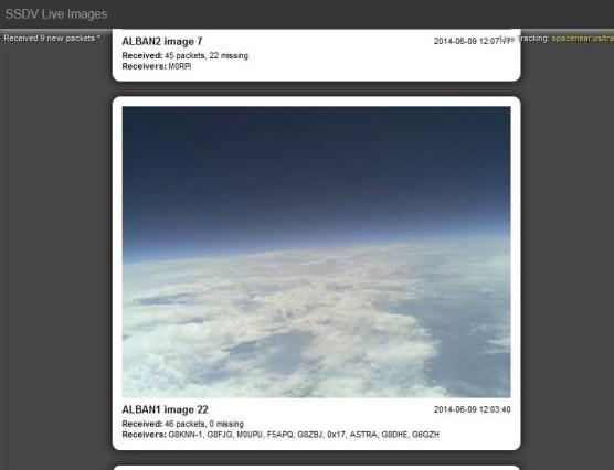 Voorbeeld van SSDV beelden