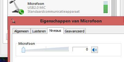 Zet het niveau omlaag bij de opnameapparaten in Windows. Zoek naar Microfoon USB2.0 of iets dergelijks en kijk bij het metertje of er audio binnenkomt.