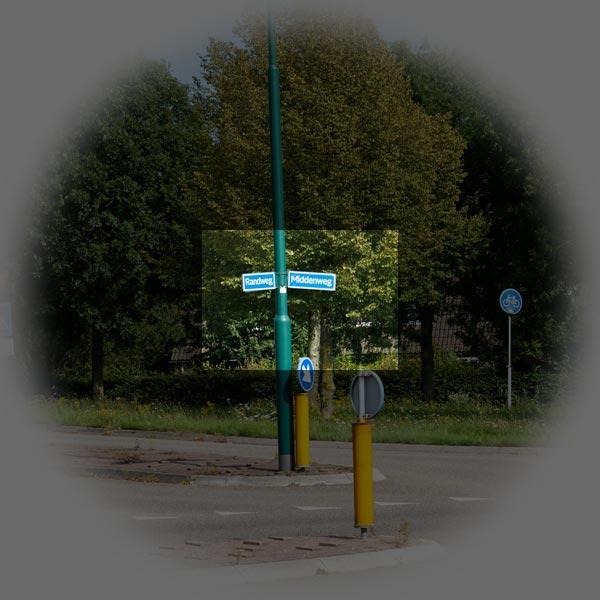 Foto 4: Kleine sensor in het geprojecteerde beeld van het objectief